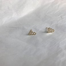 10k gold honeycomb earring