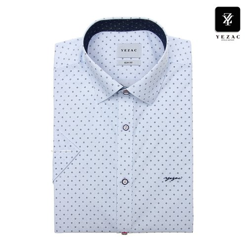 new product e570f 4065d 화이트 사각프린트 슬림핏 반소매셔츠 YJ9MBS221WH