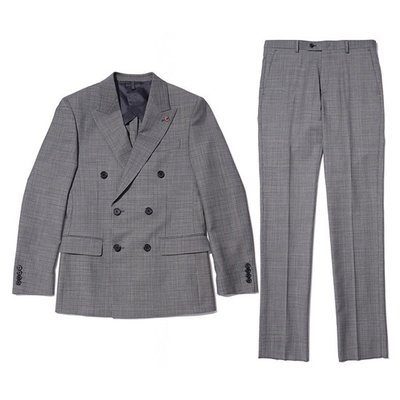 glen plaid double suit_CWFBM19354GYL_CWFCM19354GYL