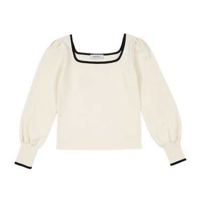 [레이브]Color Line Square Neck Knit in Ivory_VK0SP1270