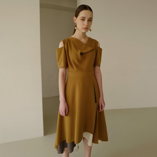 FLORENCE DOUBLE LAYERED DRESS atb320w(MUSTARD OLIVE)