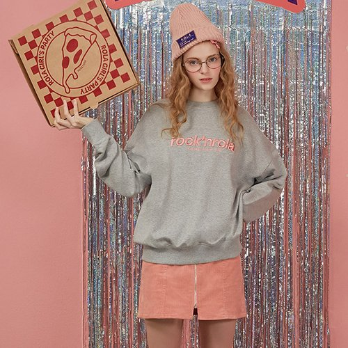 (TS-18544) BACK PIZZA SWEATSHIRT MELANGE GRAY