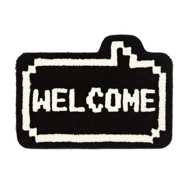 8 BIT WELCOME RUG MAT BLACK