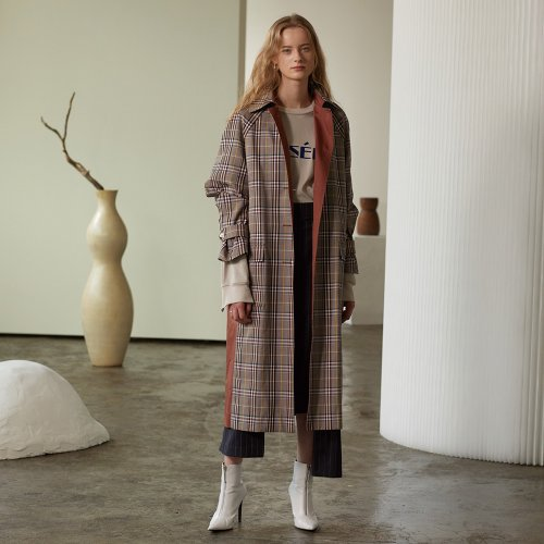 ★SSG특별혜택가★[뮤제] Bruxelle Oversized Check Trench Coat_Brick Check