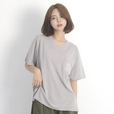 (UNISEX) Linen Wave V-neck Short Sleeve T-Shirt (GREY)_(1410607)
