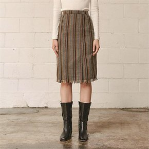 [써틴먼스] CUT OFF MIDI SKIRT (BROWN) (5994010)