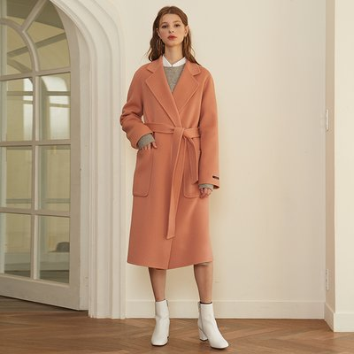 [룩캐스트] PINK CASHMERE NOTCHED LAPEL HANDMADE COAT