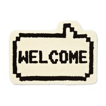 8 BIT WELCOME RUG MAT WHITE