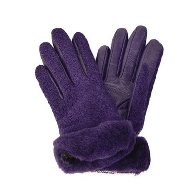 [어그] FABRIC LEATHER SHORTY GLOVE_NIGHTSHADE