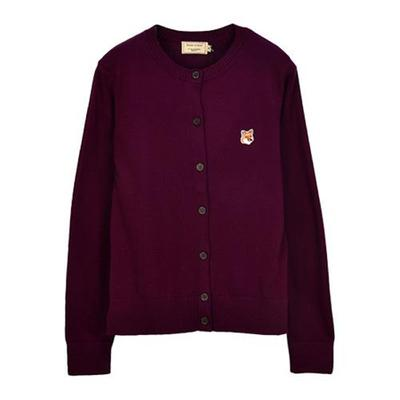 [메종키츠네] FW20 MERINOS CARDIGAN FOX HEAD PATCH_PLUM