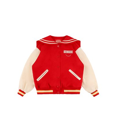 [10% SALE] Sailor collar satin varsity jacket