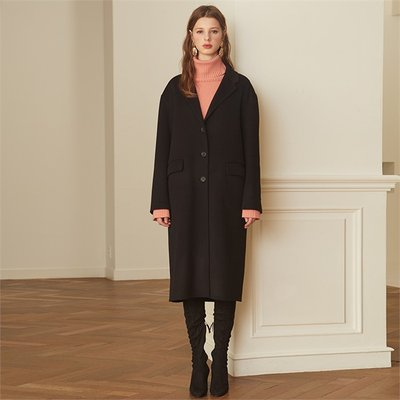 [룩캐스트] BLACK BASIC CASHMERE HANDMADE COAT