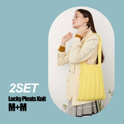 [2SET] Lucky Pleats Knit M+M