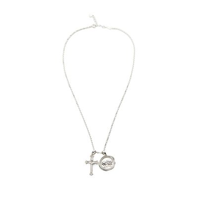[레이브]Seal Cross Necklace in Silver VX0SX0440