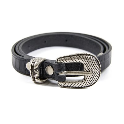 [레이브]Patterned Leather Belt in Black_VX0ST0800