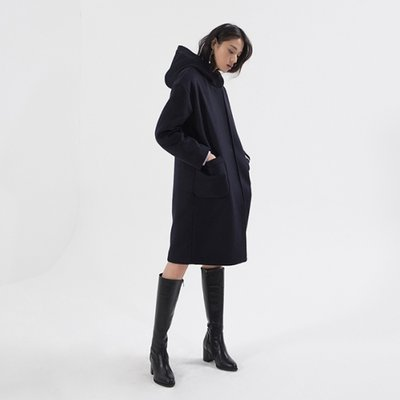 Wool hood Coat - Navy