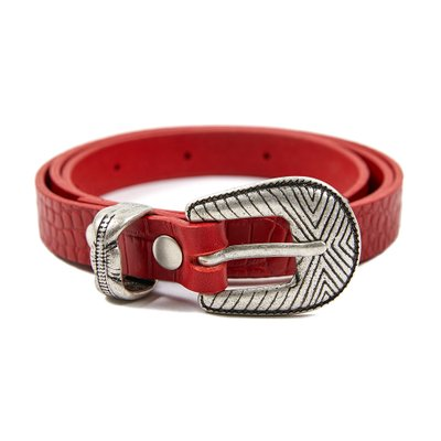 [레이브]Patterned Leather Belt in Red_VX0ST0800
