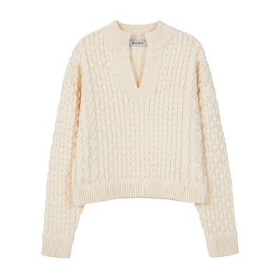 [레이브]Crop Waffle V Neck Knit in Ivory_VK0SP1280