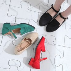kami et muse Low heel strap suede pumps_KM19s019