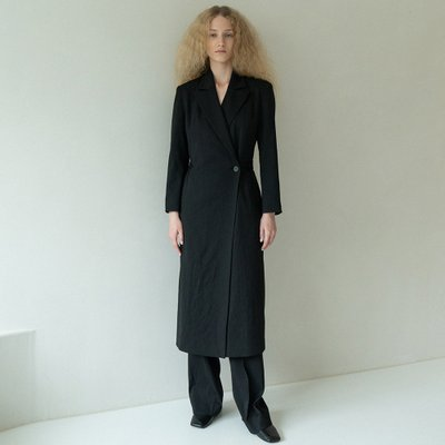 one-button onepiece coat (black)