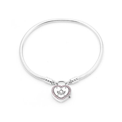 PANDORA 판도라 596586FPC Lock Your Promise Heart Clasp Bracelet 팔찌