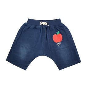 Apple milk jersey denim baggy shorts