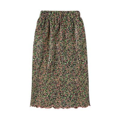 [레이브]Pleated Floral Skirt in Black_VW0SS0870