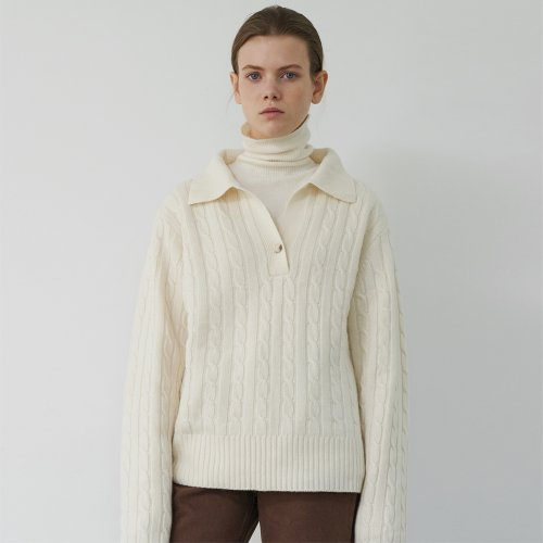 Cashmere Collar Knit Sweater (Ivory)