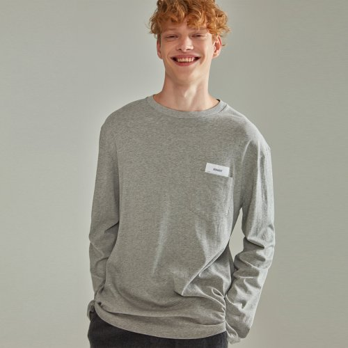 [NOHANT] BASIC POCKET LABEL LONG SLEEVE T SHIRT GRAY