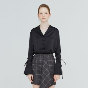 [가브리엘리] 19FW TAILORED COLLAR TIE-CUFF BLOUSE - BLACK