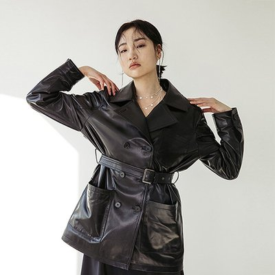 LAMB SKIN SHORT TRENCHCOAT [BLACK] (2070755)