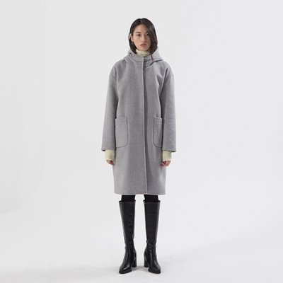 Wool hood Coat - Grey