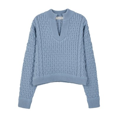 [레이브]Crop Waffle V Neck Knit in S/Blue_VK0SP1280