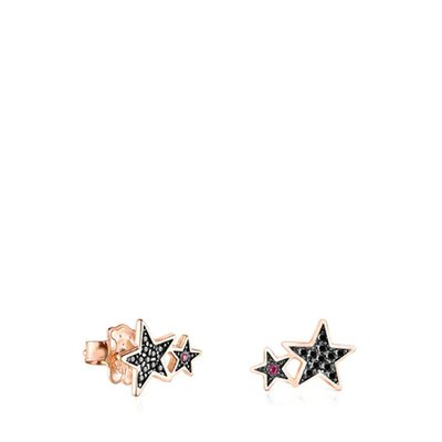 [최초출시가 159,000원]Rose Silver Vermeil Teddy Bear Stars Earrings with Spinel and Ruby/귀걸이/018073550