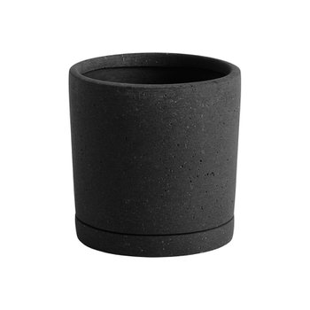 Plant Pot with Saucer M Black