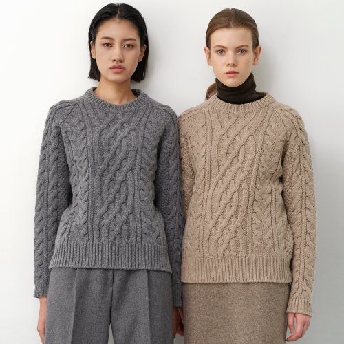Cable Wool Knit Sweater (Grey)