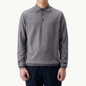 MERINO WOOL POLO MID GREY MELANGE