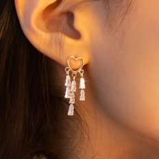 heart cubic drop earrings