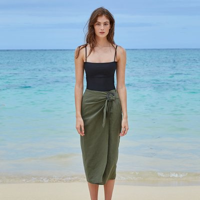 SQUARE WRAP SKIRT_DEEP GREEN