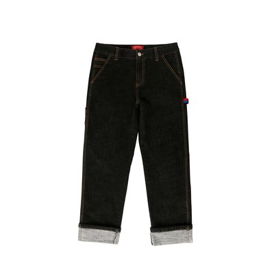 [20% SALE] Icebiscuit back brushed black denim pants (기모O)