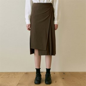 [YAN13] PLEATED WRAP MIDI SKIRT_BROWN (6482989)