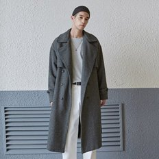 WOOL CHECK TRENCH COAT_BLACK