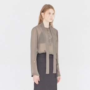[가브리엘리] 19SS SHEER BLOUSE WITH BELT - MAJOR BROWN