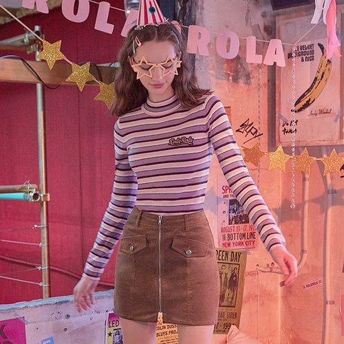 (TS-18532) MULTI STRIPE HALF-NECK KNIT PINK
