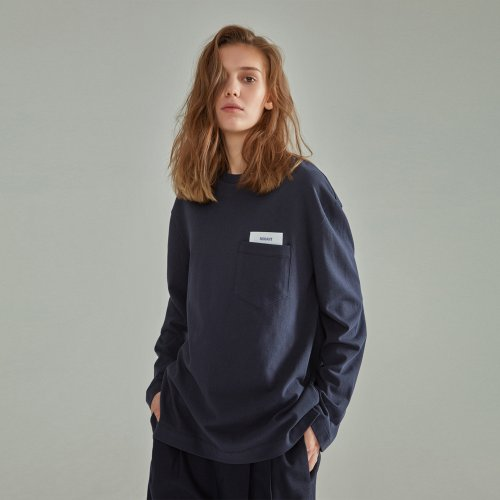 [NOHANT] BASIC POCKET LABEL LONG SLEEVE T SHIRT NAVY