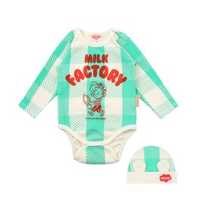 Milk factory baby mint shepherd check bodysuit set