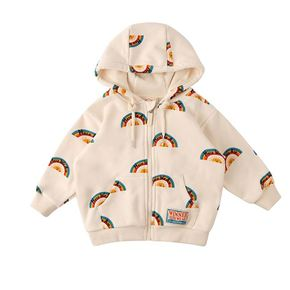 Multi rainbow baby hood zip up jacket / BP8337118