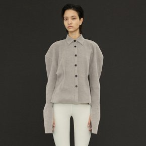 Rib Knitted Shirt_Melange Gray