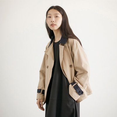 Half Trench Jacket - Beige_Navy