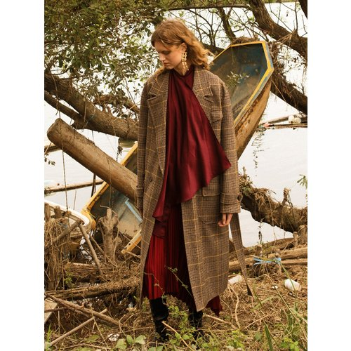 UNISEX FRANCES MILITARY ROBE COAT awa179u(BROWN CHECK)